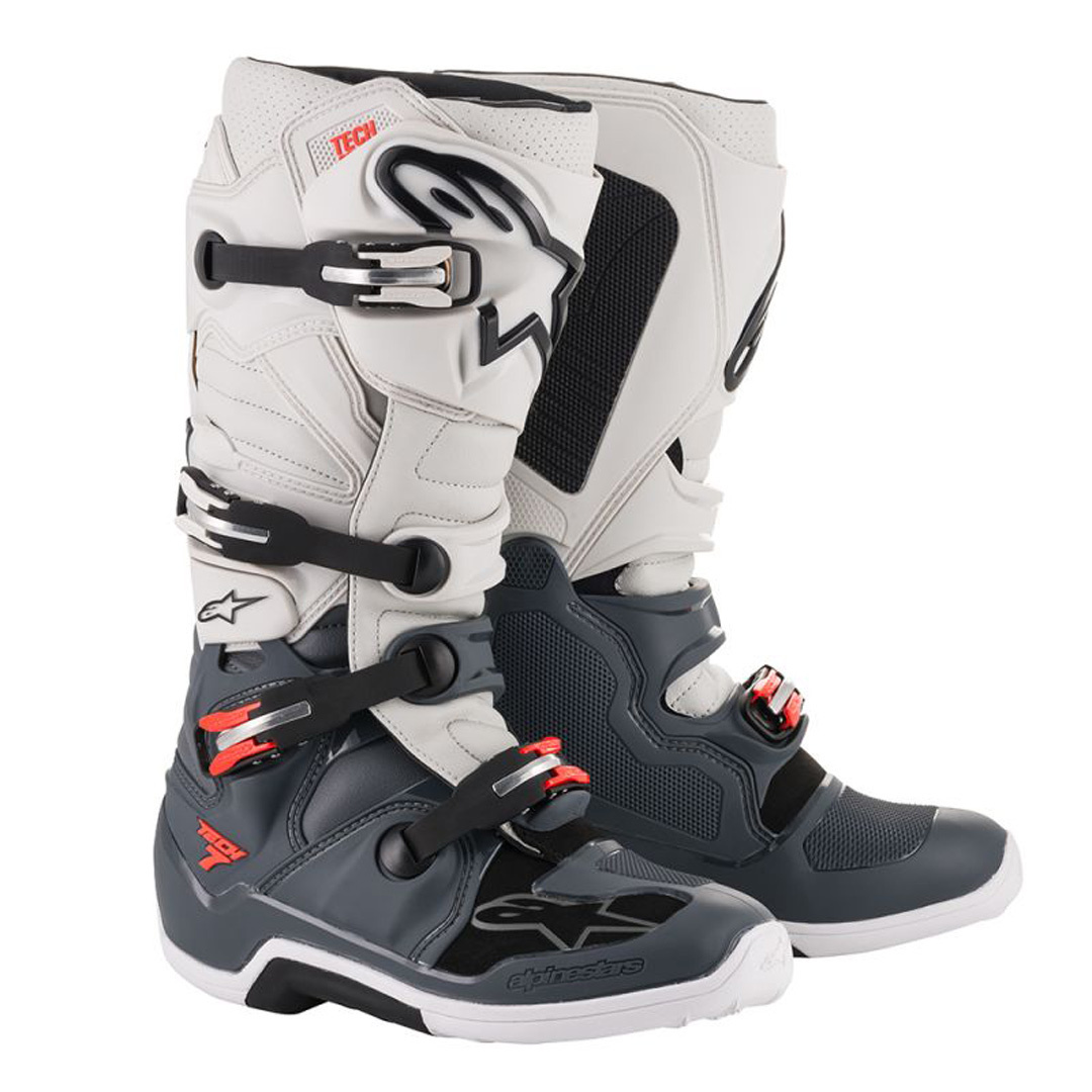 Alpinestars Tech7 Boot Ligh Grey/Dark Grey/Red Image