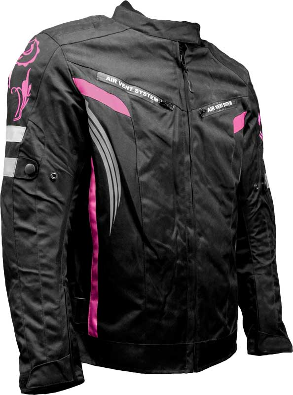 Biker Zone Ladies Pink Textile Jacket Image