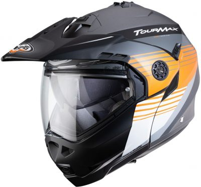 Caberg Tourmax Titan Flip Up Adventure Helmet Gun Metal, Orange and White Image